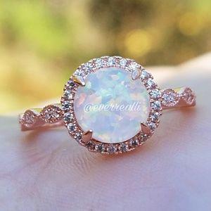 Rose Gold Round Opal Diamond Halo Milgrain Ring